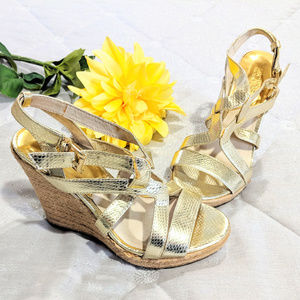 MICHAEL Michael Kors Gold Wedge Sandals Sz 7M